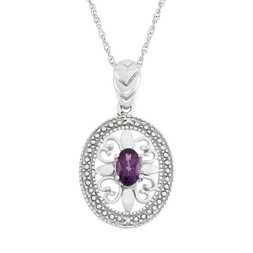 Amethyst & Diamond Accent Sterling Silver Pendant Necklace