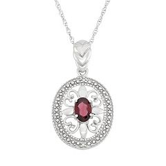 Garnet & Diamond Accent Sterling Silver Pendant Necklace