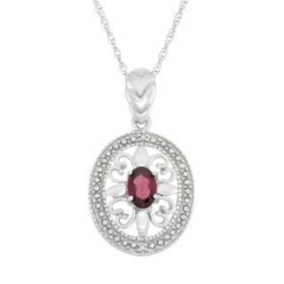 Garnet & Diamond Accent Sterling Silver Pendant Necklace