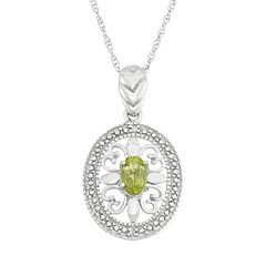 Peridot & Diamond Accent Sterling Silver Pendant Necklace