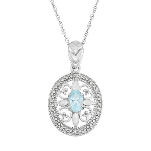 Sky Blue Topaz & Diamond Accent Sterling Silver Pendant Necklace