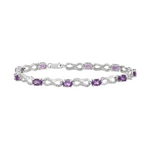 3cf760b019601 Sterling Silver Amethyst & London Blue Topaz Tennis Bracelet