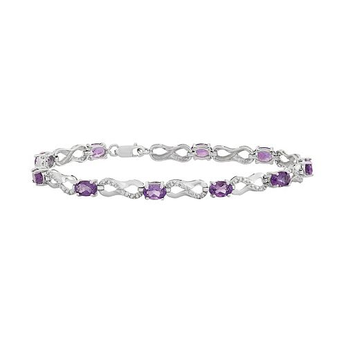 Amethyst & Diamond Accent Sterling Silver Infinity Link Bracelet
