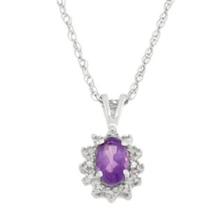 Amethyst & Diamond Accent Sterling Silver Oval Halo Pendant Necklace