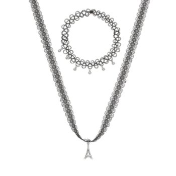 Mudd® Eiffel Tower & Collar Necklace Set