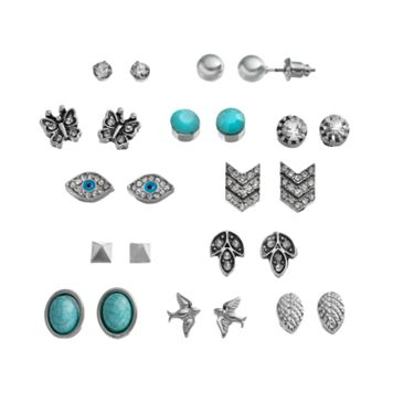 Mudd® Bird, Butterfly, Leaf, Evil Eye, Pyramid & Chevron Stud Earring Set