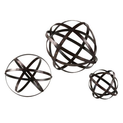 Stetson 3-piece Metal Sphere Table Decor