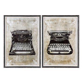 ''Classic Typewriters'' 2-piece Antique Mirror Framed Wall Art Set