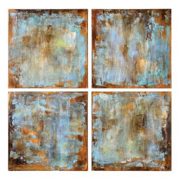 ''Accent Tiles'' 4-piece Canvas Wall Art Set by Grace Feyock