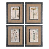 ''Antique Corkscrews'' 4-piece Framed Wall Art Set