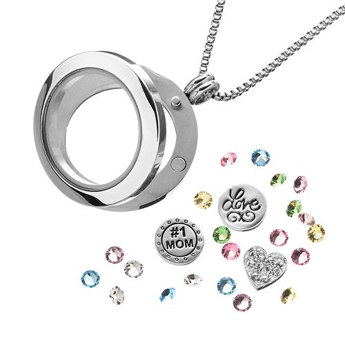 "Blue La Rue Crystal Stainless Steel 1-in. Round ""#1 Mom"" Charm Locket - Made with Swarovski Crystals"