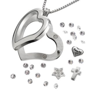"""Blue La Rue Crystal Stainless Steel 1.2-in. Heart """"Family"""" Charm Locket - Made with Swarovski Crystals"""