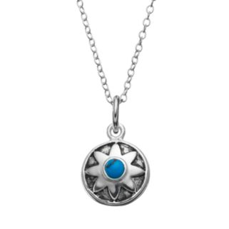 Simulated Turquoise Sterling Silver Flower Pendant Necklace