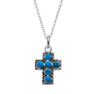 Simulated Turquoise Sterling Silver Cross Pendant Necklace