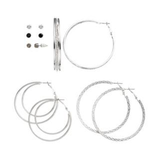 Mudd® Stud & Textured Hoop Earring Set