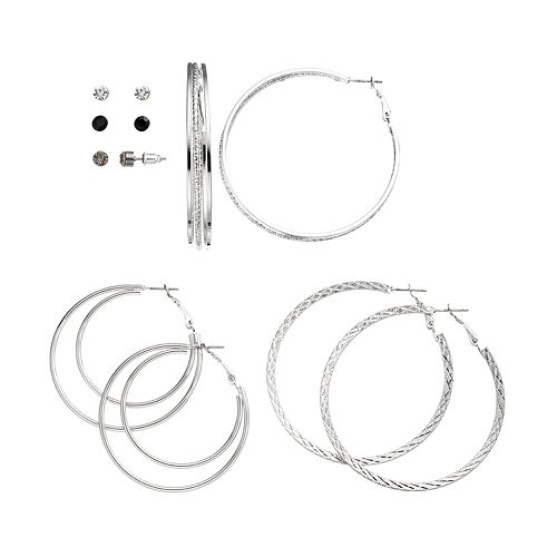 SO® Stud & Textured Hoop Earring Set