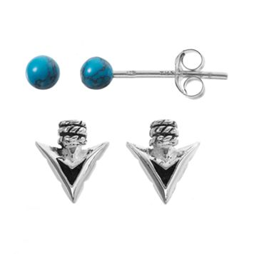 Simulated Turquoise Sterling Silver Arrowhead & Ball Stud Earring Set