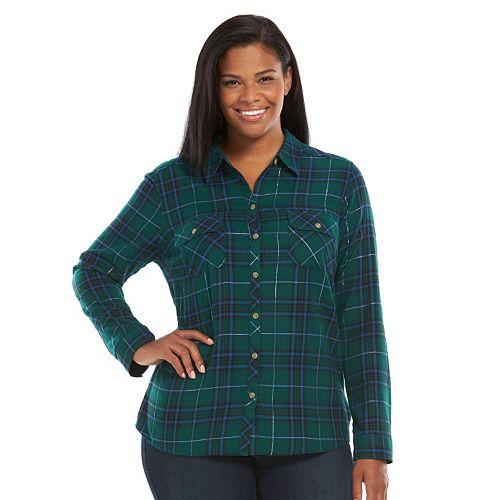 41bf84001c Plus Size Croft   Barrow® Plaid Flannel Shirt