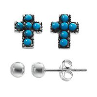 Simulated Turquoise Sterling Silver Cross & Ball Stud Earring Set