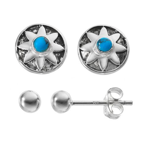 Simulated Turquoise Sterling Silver Flower & Ball Stud Earring Set