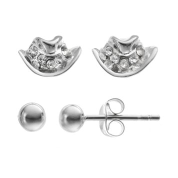 Crystal Sterling Silver Cowboy Hat & Ball Stud Earring Set