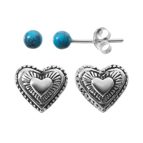 743489269 Simulated Turquoise Sterling Silver Heart & Ball Stud Earring Set