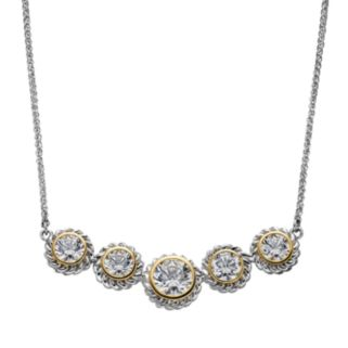 Cubic Zirconia Sterling Silver Two Tone Necklace