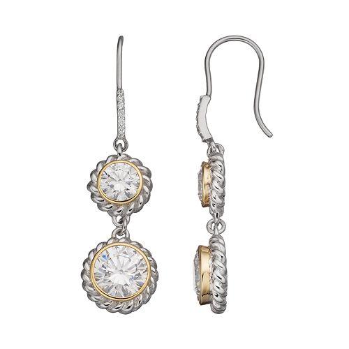 Cubic Zirconia Sterling Silver Two Tone Drop Earrings