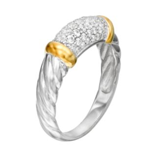 Cubic Zirconia Sterling Silver Two Tone Twist Ring