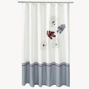 Saturday Knight, Ltd. Evan Stripe Floral Fabric Shower Curtain