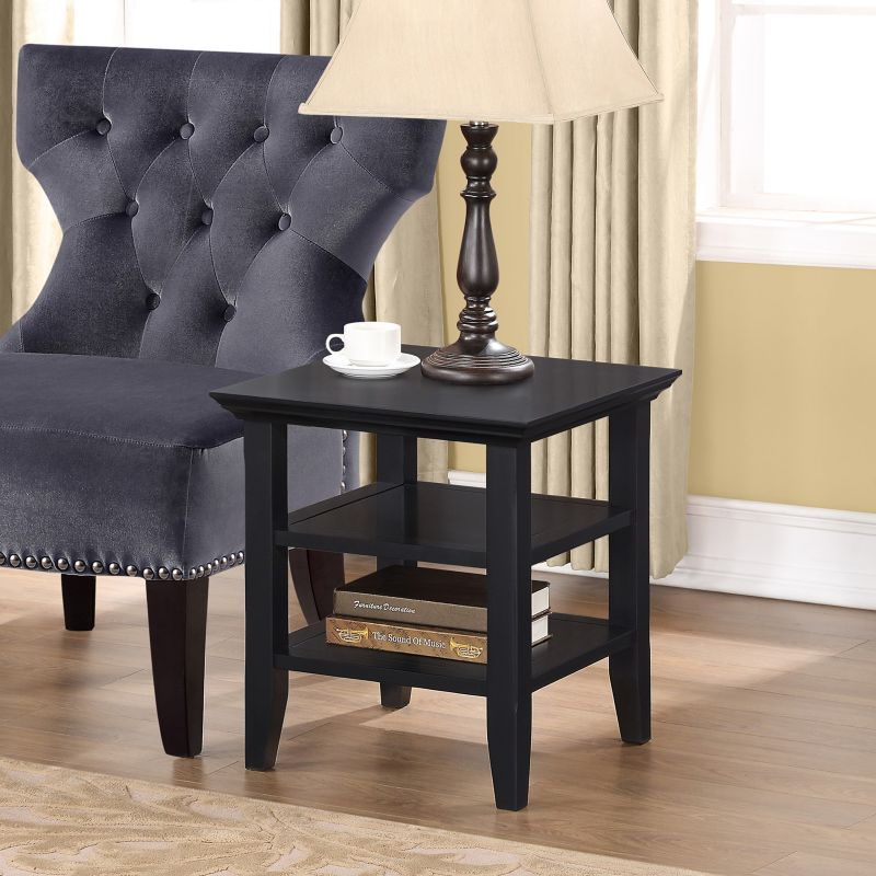 Simpli Home Acadian Square End Table, Black