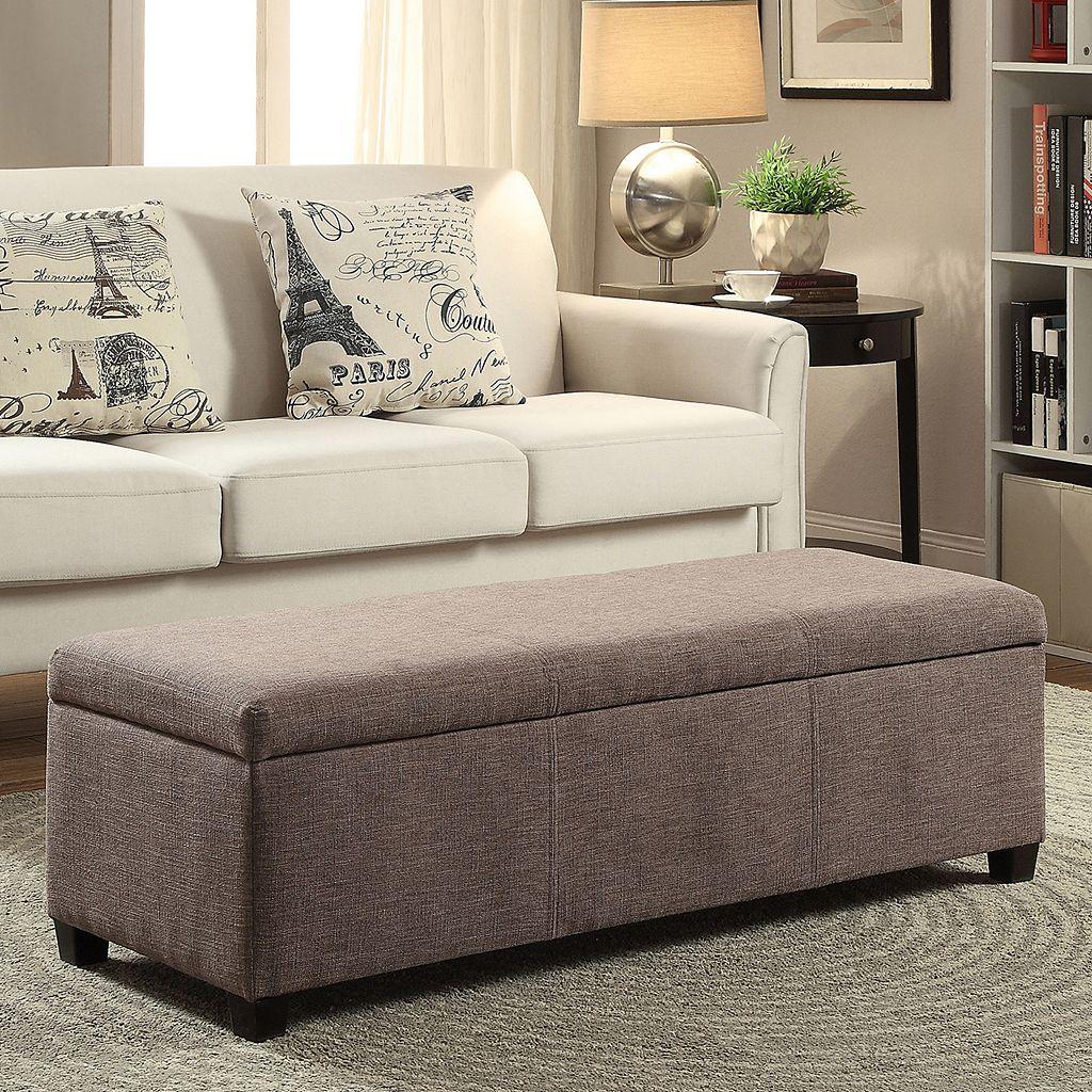 Simpli Home Avalon Rectangular Storage Ottoman