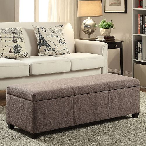 Simpli Home Avalon Upholstered Storage Ottoman