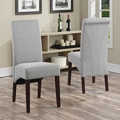 Simpli Home 2 pc Avalon Linen Deluxe Parson Chair Set