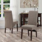 Simpli Home 2-piece Avalon Linen Deluxe Parson Chair Set