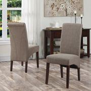 Simpli Home Avalon Linen Deluxe Parson Chair 2-piece Set