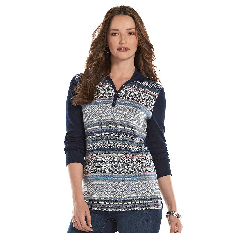Chaps Hooded Thermal Henley Top - Women's