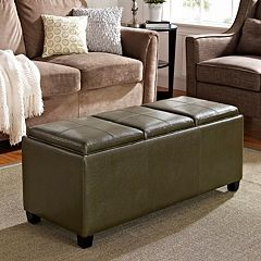 Simpli Home Avalon Faux-Leather Storage Ottoman