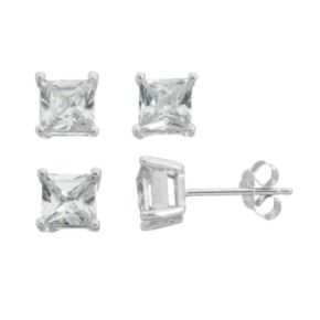 Cubic Zirconia Sterling Silver Square Stud Earring Set
