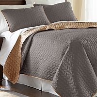 Solid 3 pc Reversible Coverlet Set