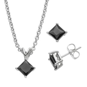 Cubic Zirconia Silver-Plated Pendant Necklace & Square Stud Earring Set