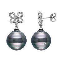 Tahitian Cultured Pearl & 1/5 Carat T.W. Diamond 10k White Gold Butterfly Stud Earrings