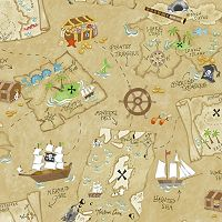 Peek-A-Boo Pirate Map Wallpaper