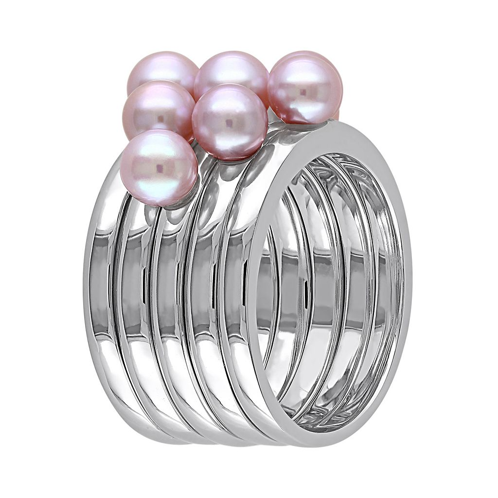 Freshwater Cultured Pearl Sterling Silver Ring Set