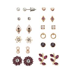 Mudd® Infinity, Kite, Flower, Leaf & Heart Stud Earring Set