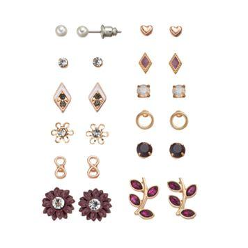 Mudd® Infinity, Kite, Flower, Leaf & Heart Stud Earring Set