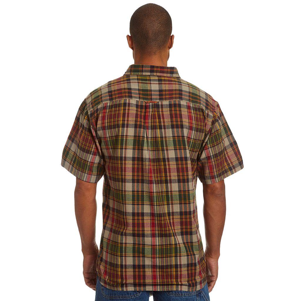 Men's Stanley Classic-Fit Madras Plaid Casual Button-Down Shirt