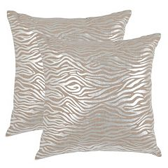 Safavieh Zebra Print 2 pc Linen Throw Pillow Set