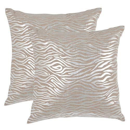 Safavieh Zebra Print 2-piece Linen Throw Pillow Set