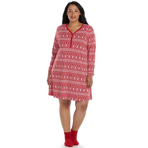 2671bf3e455 Plus Size Croft   Barrow® Pajamas  Knit V-Neck Sleep Shirt with Socks